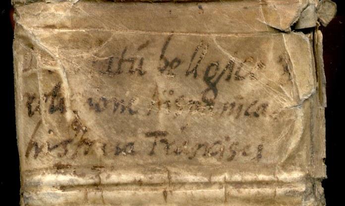 """Lederrücken des Altonaer Manuskripts der """"Historia de statu Belgico et religione Hispanica"""", um 1545"""